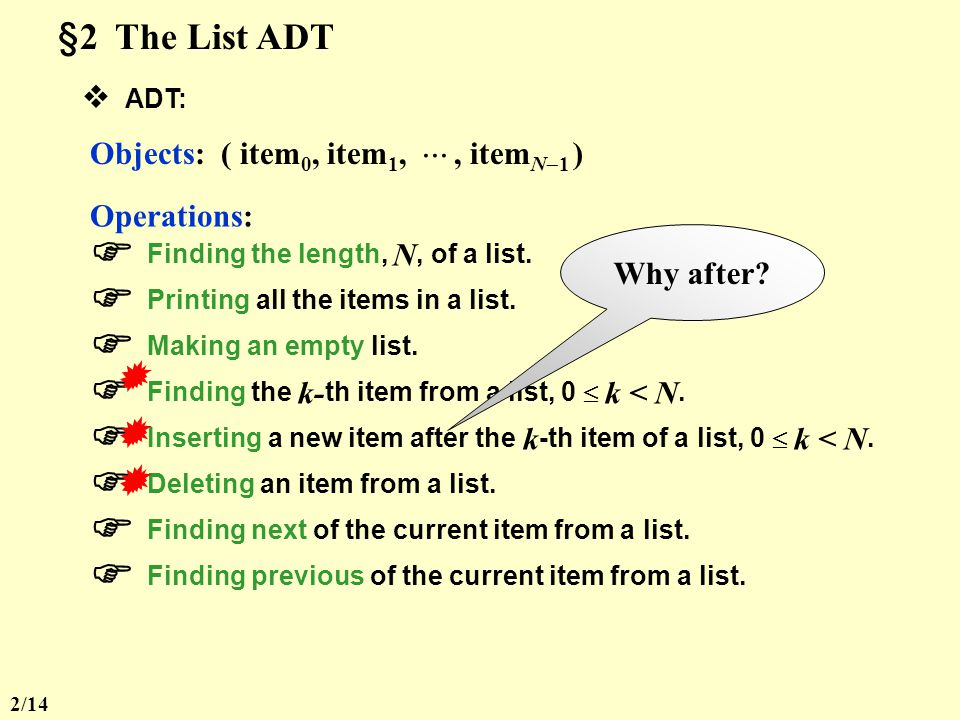 CHAPTER 3 Lists, Stacks, and Queues §1 Abstract Data Type (ADT) Definition Data Type = { Objects } { Operations } Example int = { 0, 1, 2,, INT_MAX, INT_MIN } {,,,,, } Definition An Abstract Data Type (ADT) is a data type that is organized in such a way that the specification on the objects and specification of the operations on the objects are separated from the representation of the objects and the implementation on the operations.