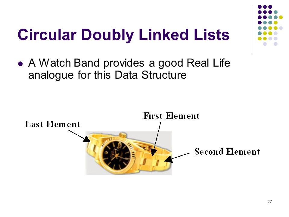 27 Circular Doubly Linked Lists A Watch Band provides a good Real Life analogue for this Data Structure
