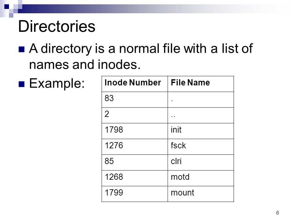 6 Directories A directory is a normal file with a list of names and inodes.