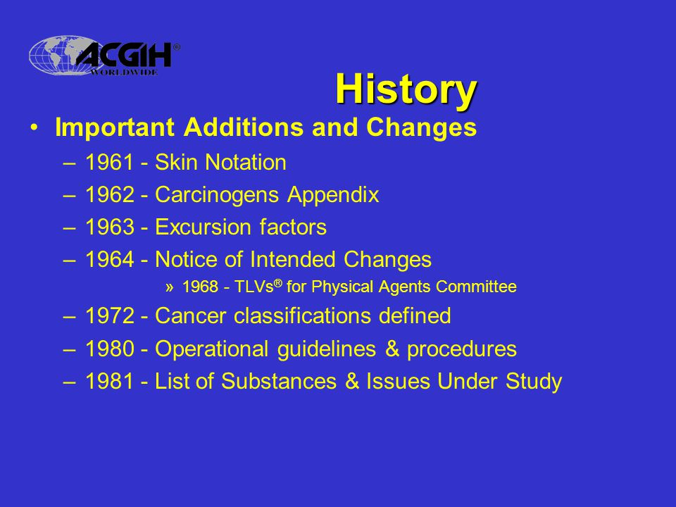 History Important Additions and Changes –1961 - Skin Notation –1962 - Carcinogens Appendix –1963 - Excursion factors –1964 - Notice of Intended Change