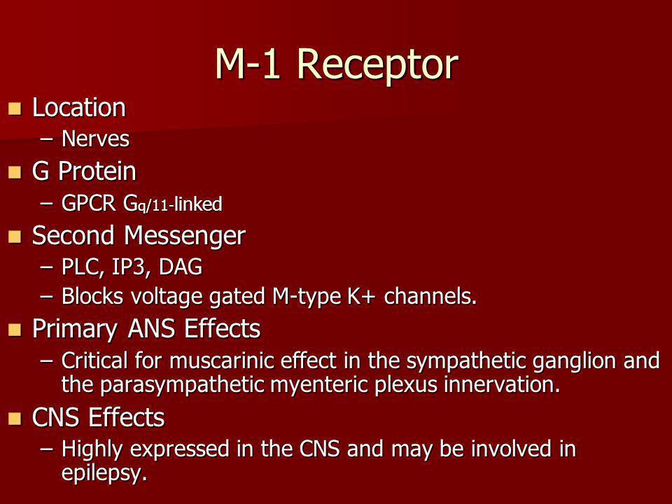 M-1 Receptor Location Location –Nerves G Protein G Protein –GPCR G q/11- linked Second Messenger Second Messenger –PLC, IP3, DAG –Blocks voltage gated
