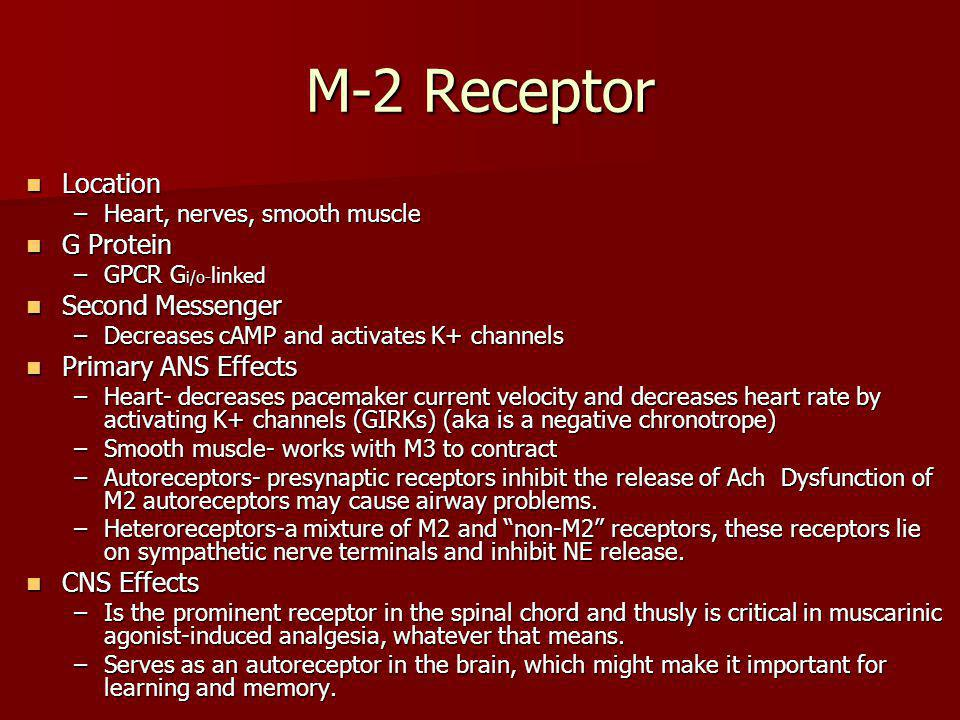 M-2 Receptor Location Location –Heart, nerves, smooth muscle G Protein G Protein –GPCR G i/o- linked Second Messenger Second Messenger –Decreases cAMP