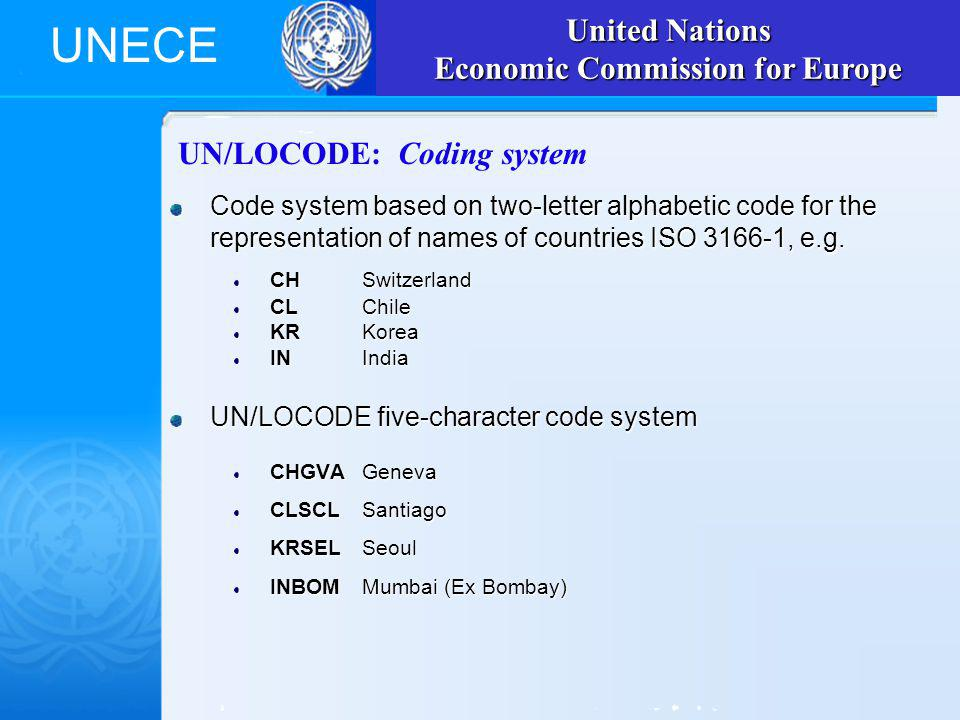 UNECE UN/LOCODE: Coding system Code system based on two-letter alphabetic code for the representation of names of countries ISO 3166-1, e.g.