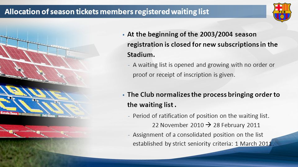 Allocation of season tickets members registered waiting list On 24 October, the Board of Directors approves the allocation of all season ticket resignations in the waiting list.