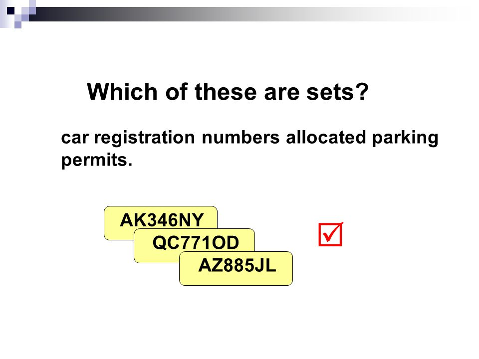 Which of these are sets. car registration numbers allocated parking permits.