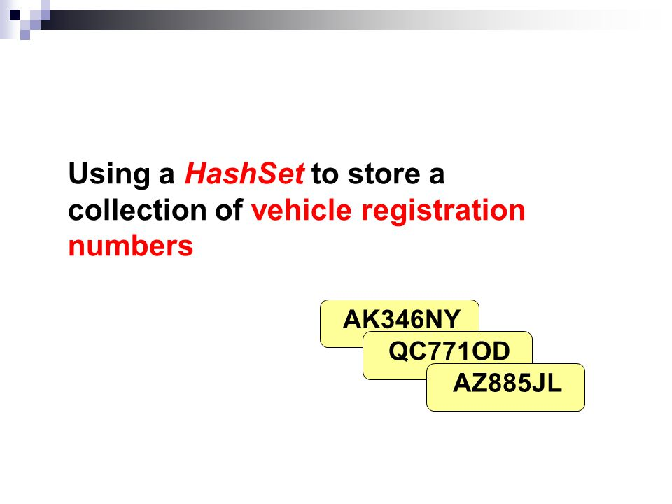 Using a HashSet to store a collection of vehicle registration numbers AK346NY QC771OD AZ885JL