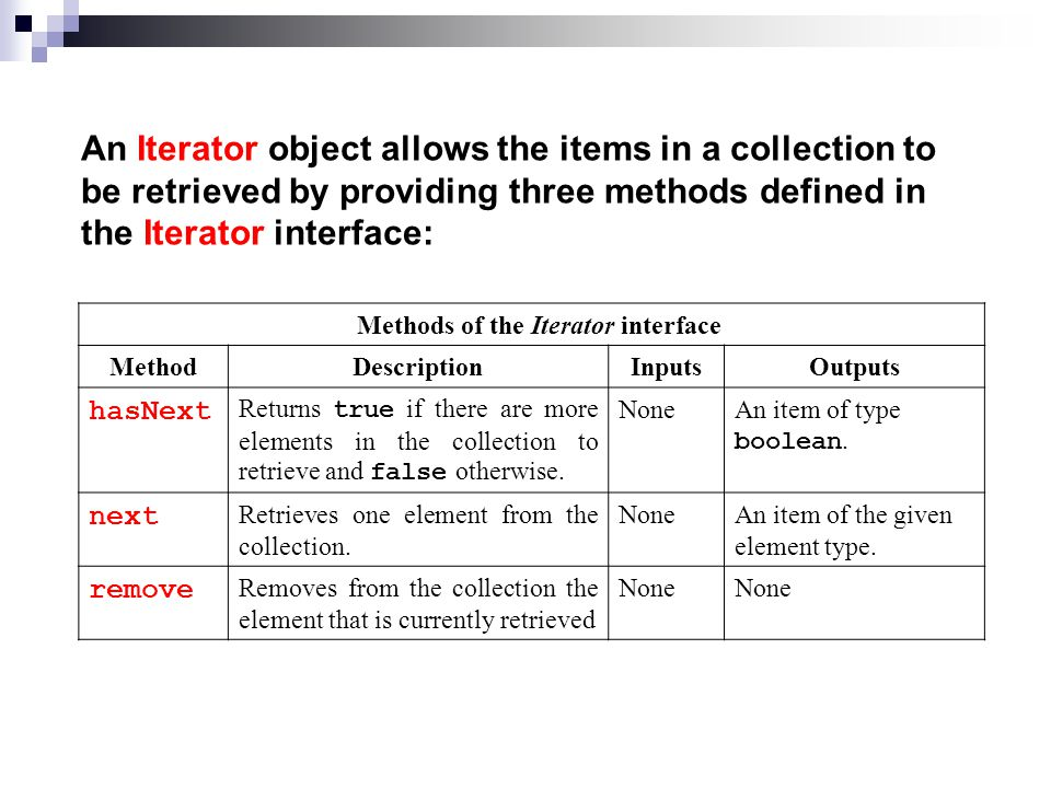 An Iterator object allows the items in a collection to be retrieved by providing three methods defined in the Iterator interface: Methods of the Iterator interface MethodDescriptionInputsOutputs hasNext Returns true if there are more elements in the collection to retrieve and false otherwise.
