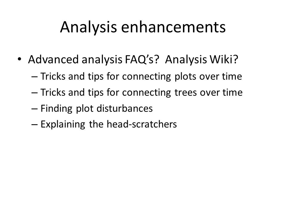 Analysis enhancements Advanced analysis FAQs. Analysis Wiki.