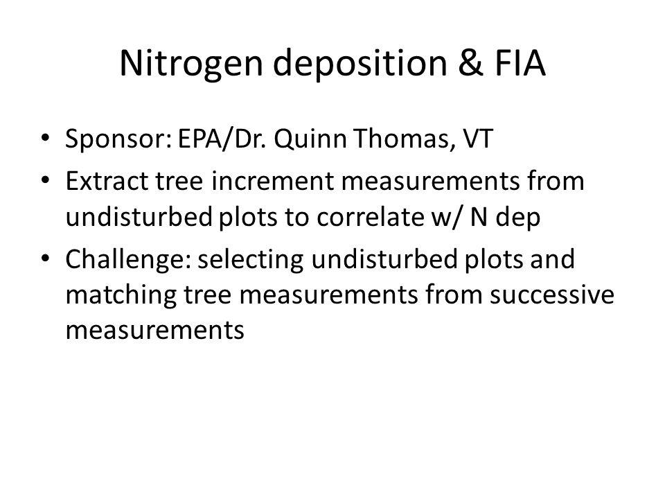 Nitrogen deposition & FIA Sponsor: EPA/Dr. Quinn Thomas, VT Extract tree increment measurements from undisturbed plots to correlate w/ N dep Challenge