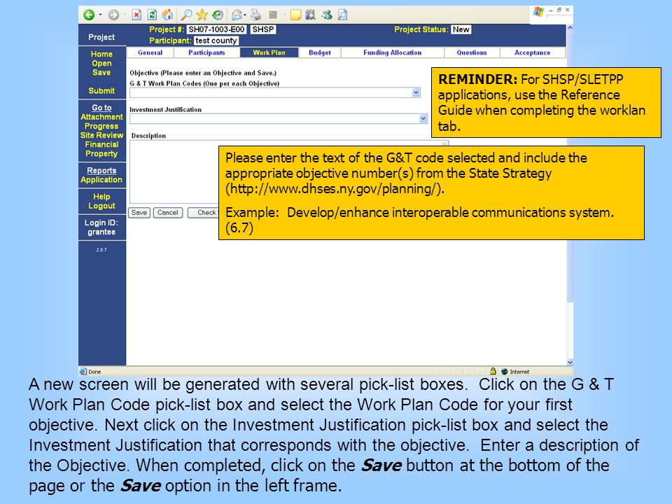 A new screen will be generated with several pick-list boxes. Click on the G & T Work Plan Code pick-list box and select the Work Plan Code for your fi