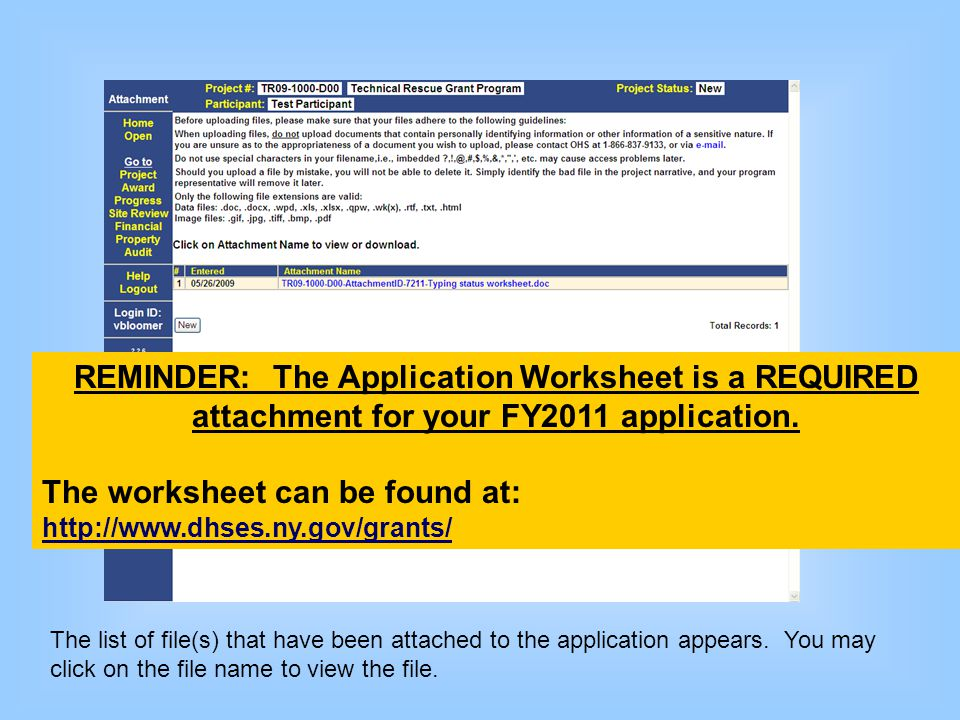 The list of file(s) that have been attached to the application appears. You may click on the file name to view the file. REMINDER: The Application Wor