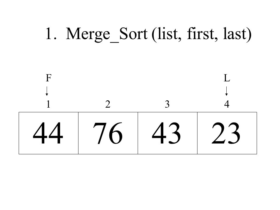 23437644 4321 LF 1. Merge_Sort (list, first, last)