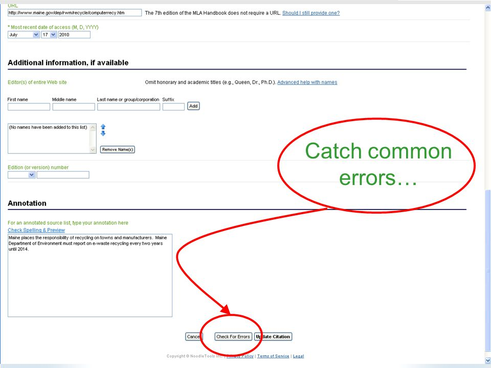 Catch common errors…