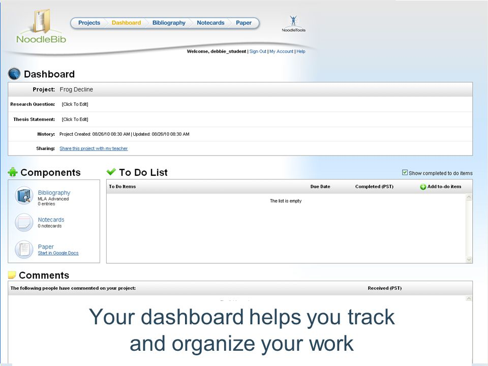 Your dashboard helps you track and organize your work