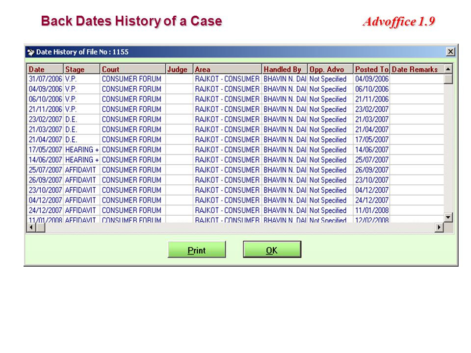Advoffice 1.9 Back Dates History of a Case