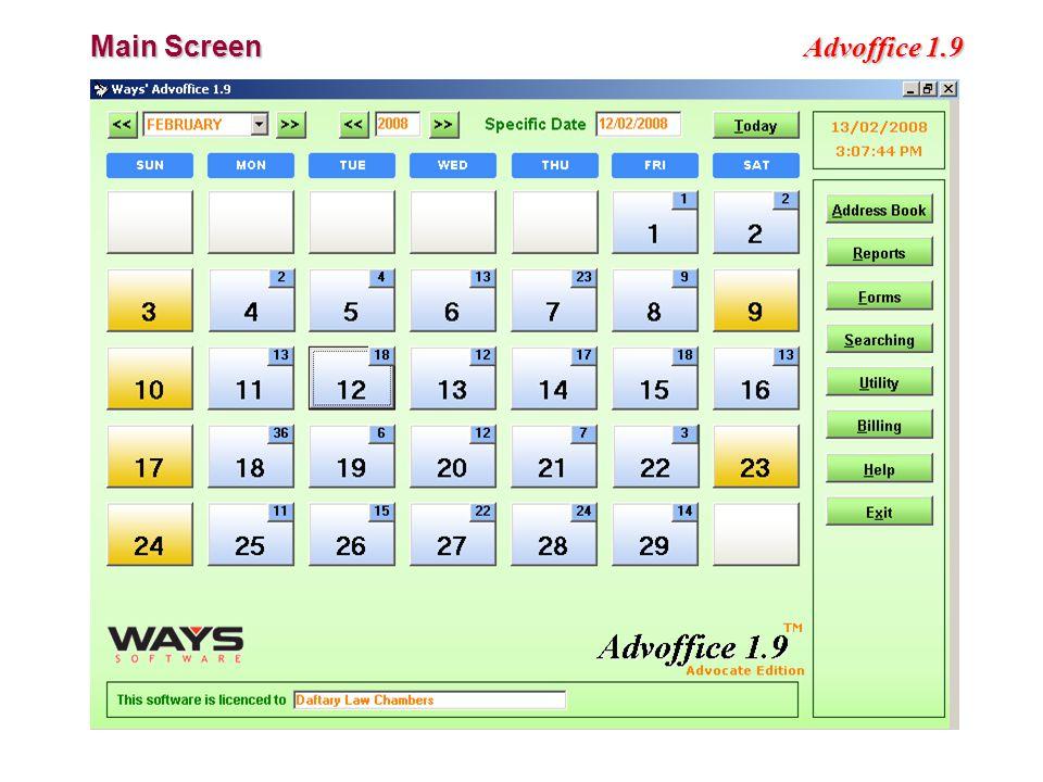 Advoffice 1.9 Main Screen
