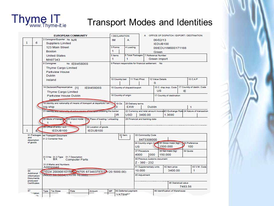 Mode of Transport = Sea 1 International Maritime Organisation (N7) European Vessel Identification Number (N8) Mode of Transport = Air 4 IATA flight number (AN3)(N4)(Optional A1) Mode of Transport = Road 3 Vehicle registration number Mode of Transport = Rail 2 Wagon number Transport Identity (18.1) Format based on MOT