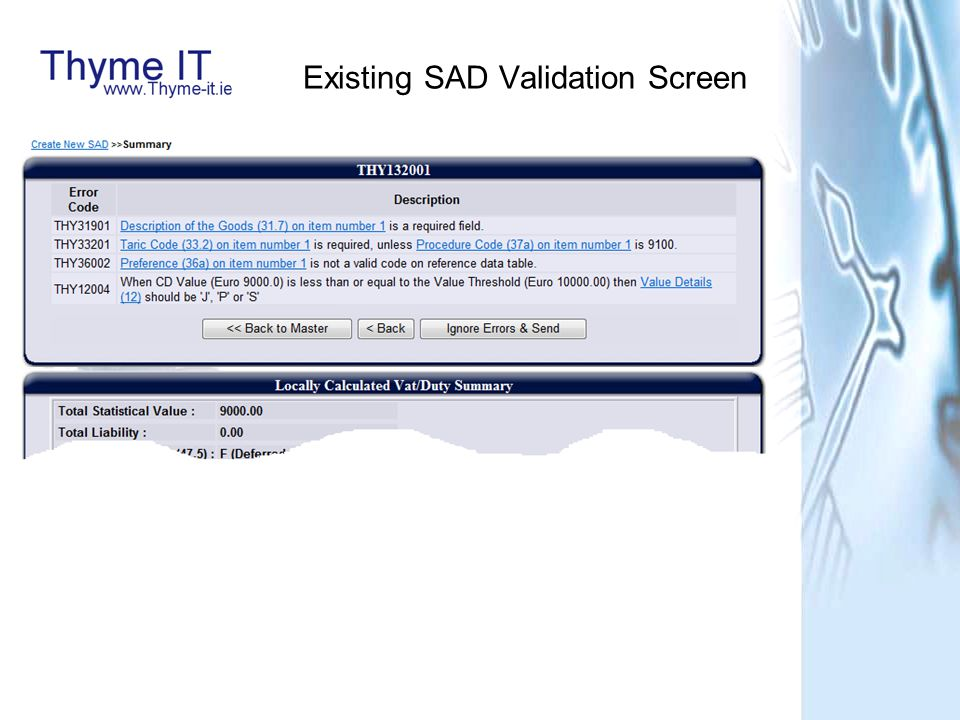 Existing SAD Validation Screen