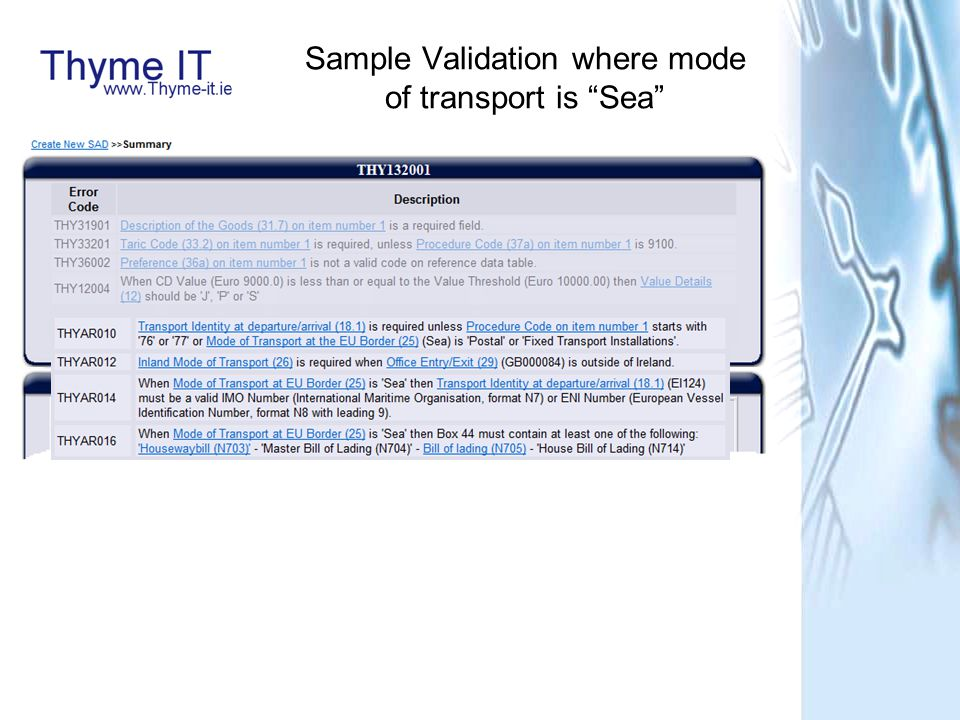 Sample Validation where mode of transport is Sea