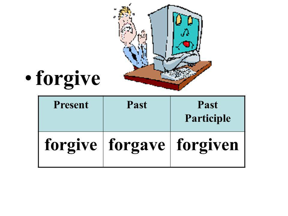 forgive PresentPastPast Participle forgiveforgaveforgiven