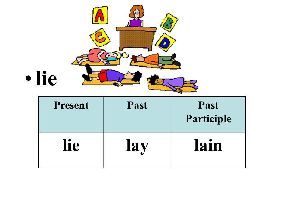 lie PresentPastPast Participle lielaylain