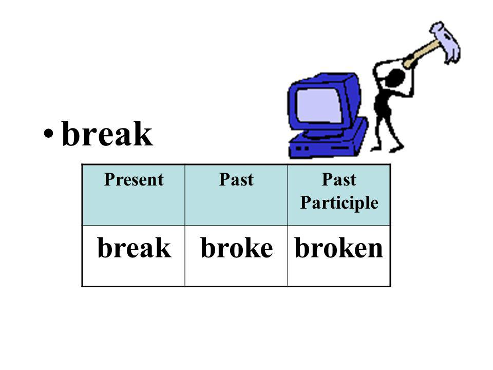 break PresentPastPast Participle breakbrokebroken