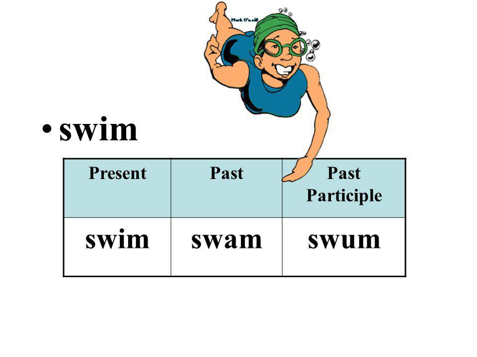 swim PresentPastPast Participle swimswamswum