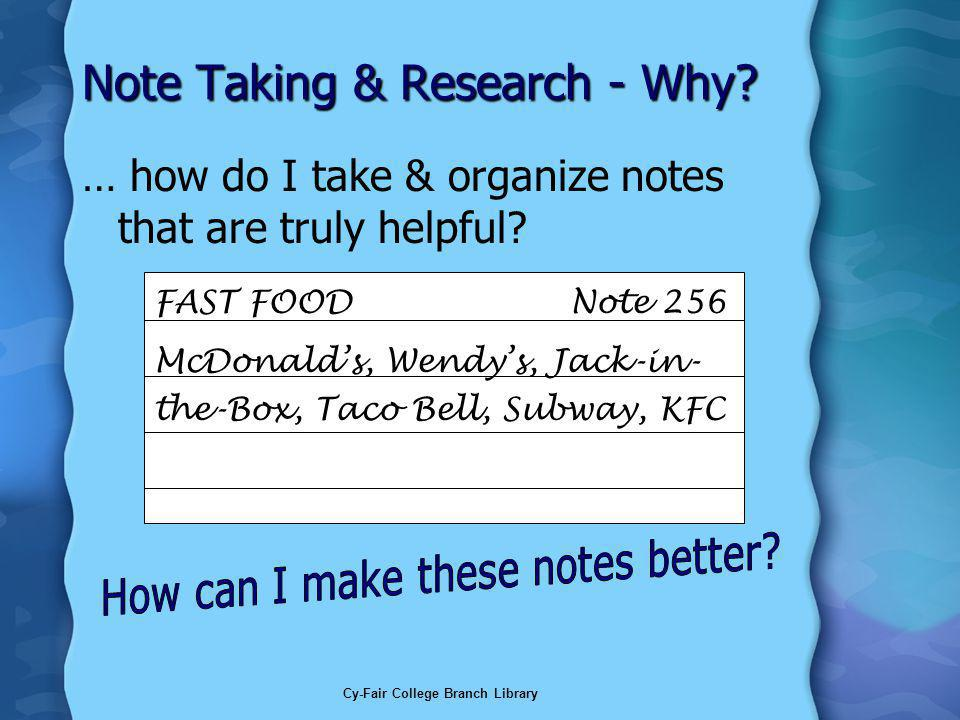 Cy-Fair College Branch Library Note Taking & Research - Why.