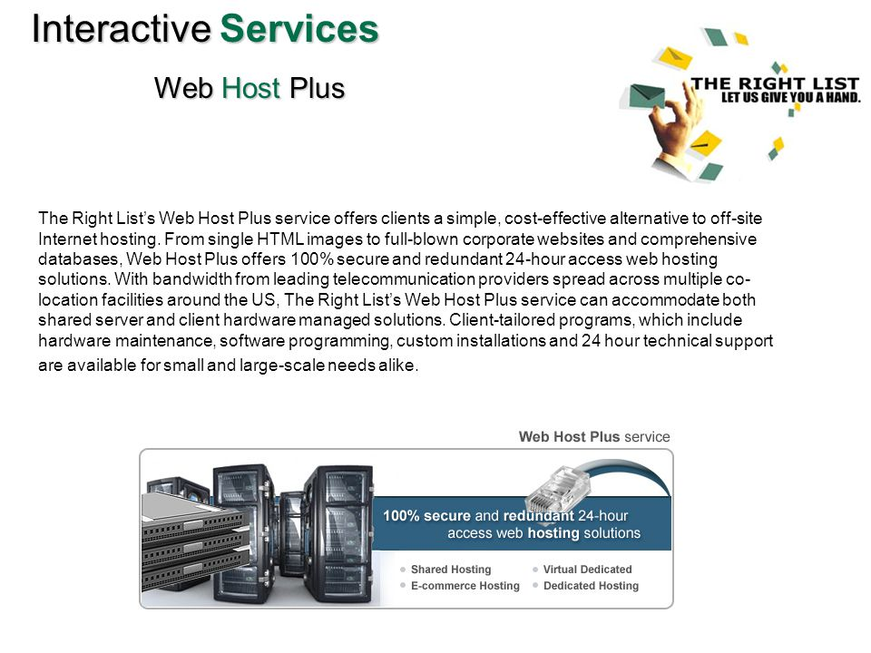 InteractiveServices Interactive Services Web Host Plus The Right Lists Web Host Plus service offers clients a simple, cost-effective alternative to off-site Internet hosting.