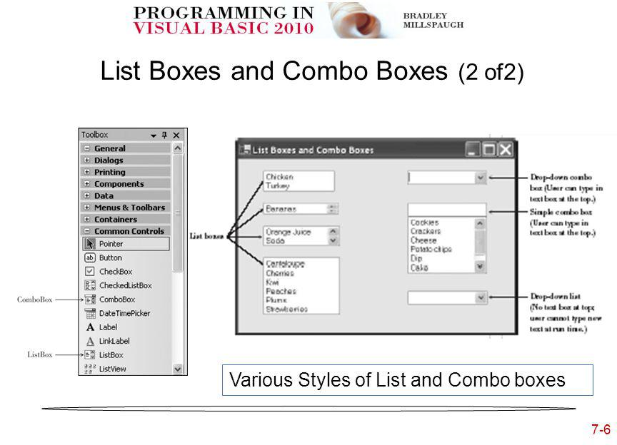 7-6 List Boxes and Combo Boxes (2 of2) Various Styles of List and Combo boxes