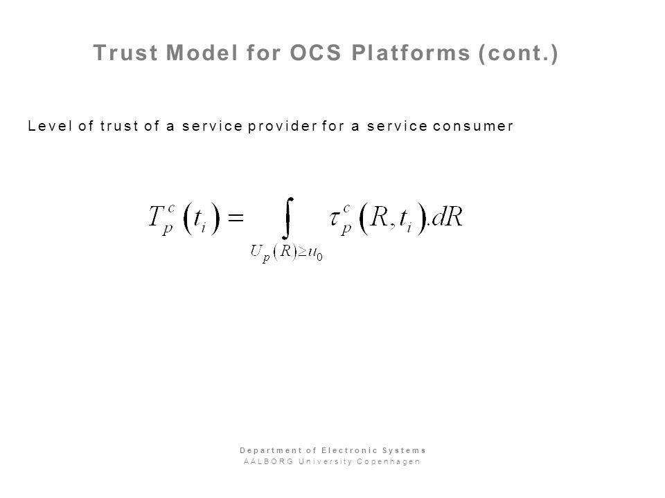 Trust Model for OCS Platforms (cont.) Level of trust of a service provider for a service consumer Department of Electronic Systems AALBORG University Copenhagen