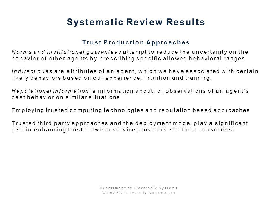 Systematic Review Results Trust Production Approaches Norms and institutional guarantees attempt to reduce the uncertainty on the behavior of other agents by prescribing specific allowed behavioral ranges Indirect cues are attributes of an agent, which we have associated with certain likely behaviors based on our experience, intuition and training.