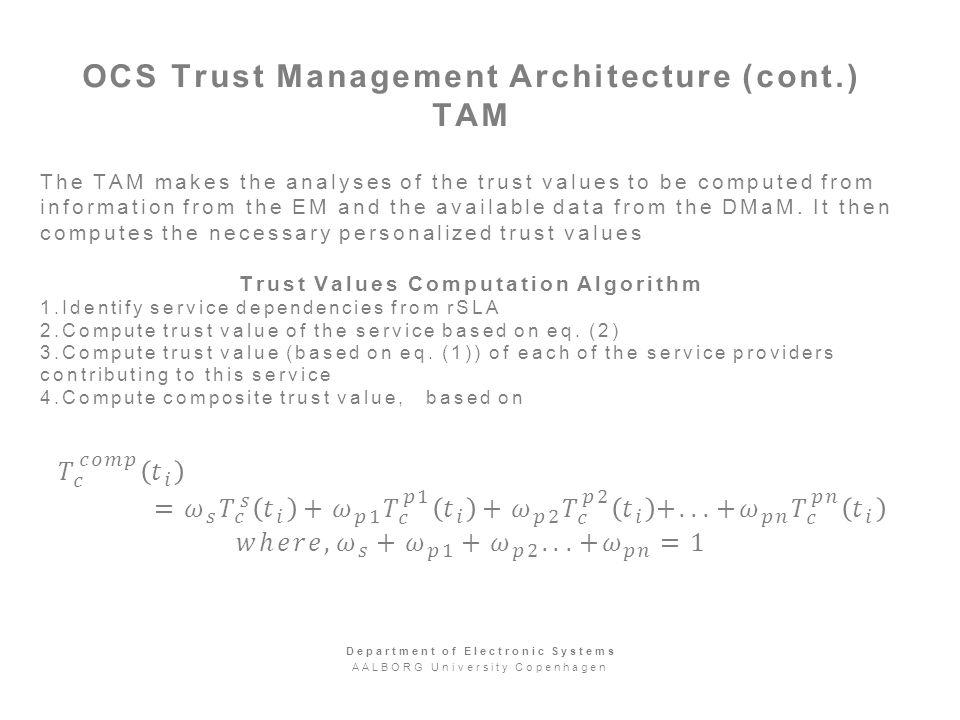 OCS Trust Management Architecture (cont.) TAM Department of Electronic Systems AALBORG University Copenhagen
