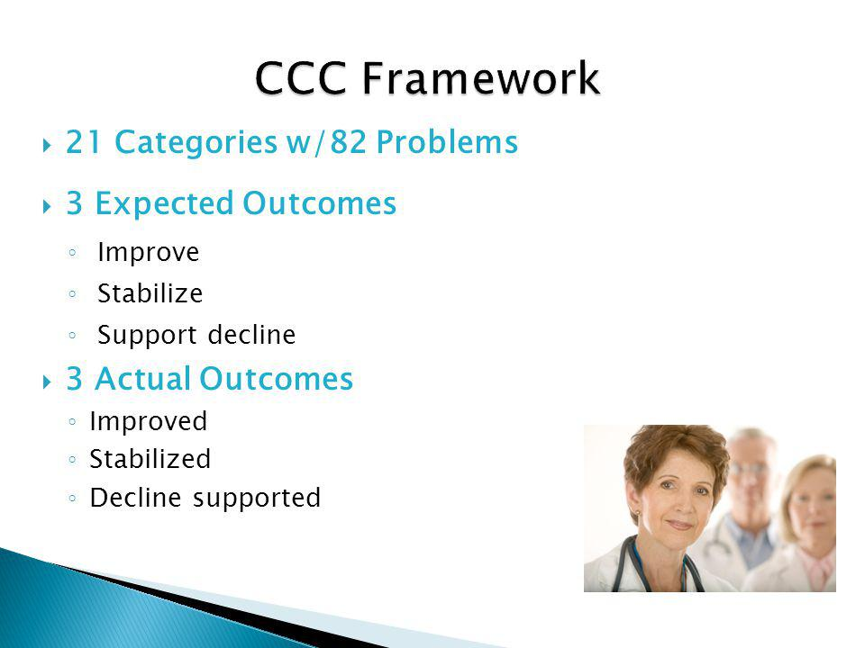 21 Categories w/82 Problems 3 Expected Outcomes Improve Stabilize Support decline 3 Actual Outcomes Improved Stabilized Decline supported