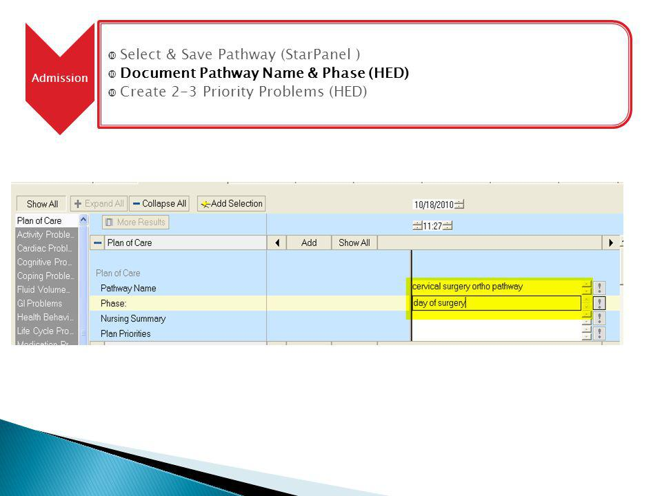 Admission Select & Save Pathway (StarPanel ) Document Pathway Name & Phase (HED) Create 2-3 Priority Problems (HED)