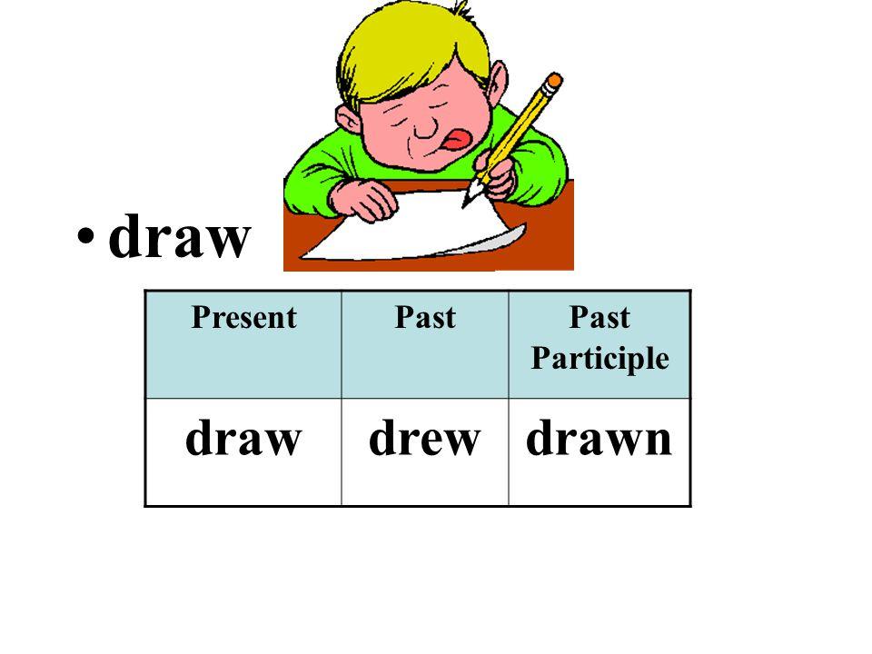 draw PresentPastPast Participle drawdrewdrawn