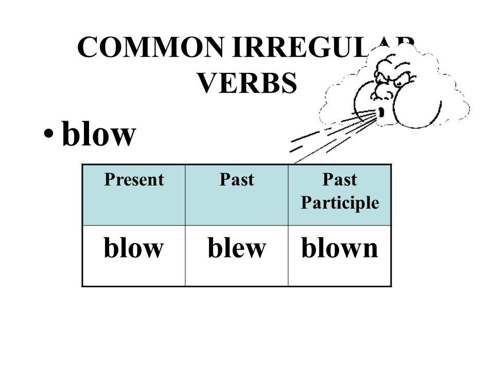 COMMON IRREGULAR VERBS blow PresentPastPast Participle blowblewblown