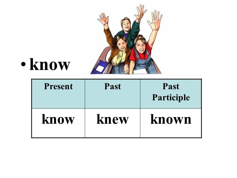 know PresentPastPast Participle knowknewknown