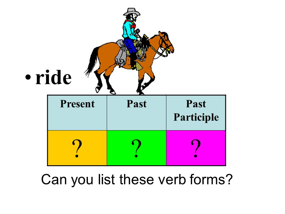 ride Can you list these verb forms? PresentPastPast Participle ???