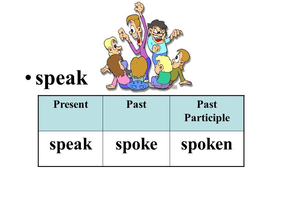 speak PresentPastPast Participle speakspokespoken