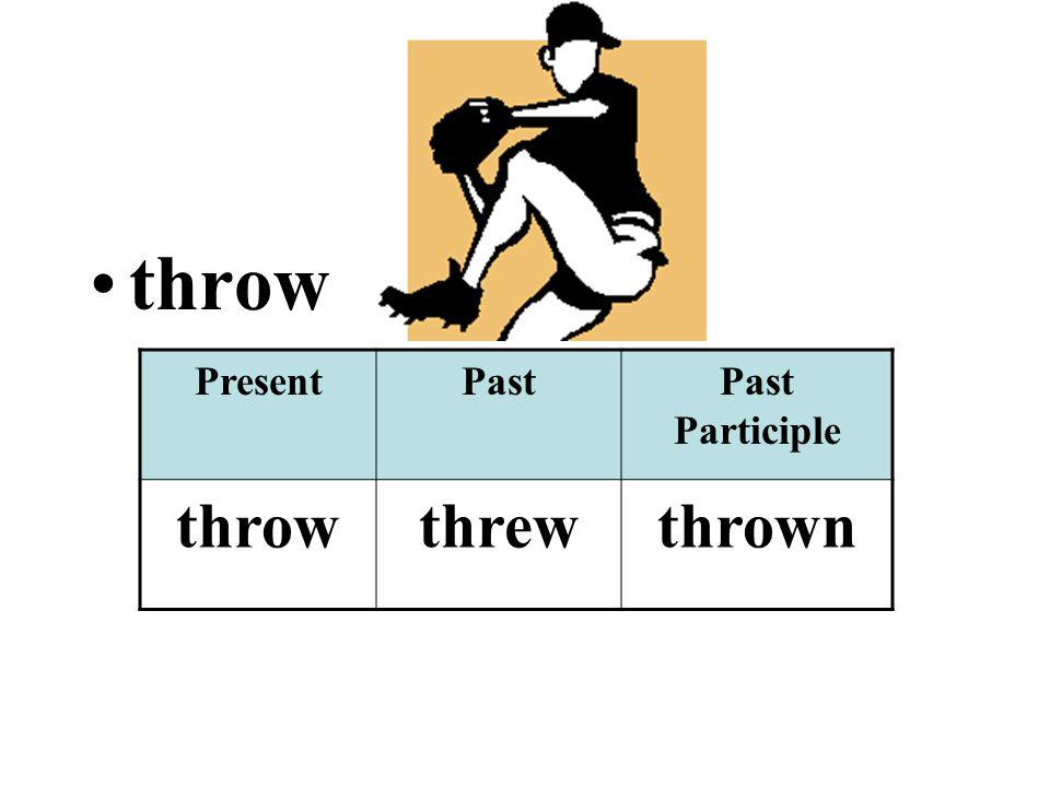 throw PresentPastPast Participle throwthrewthrown