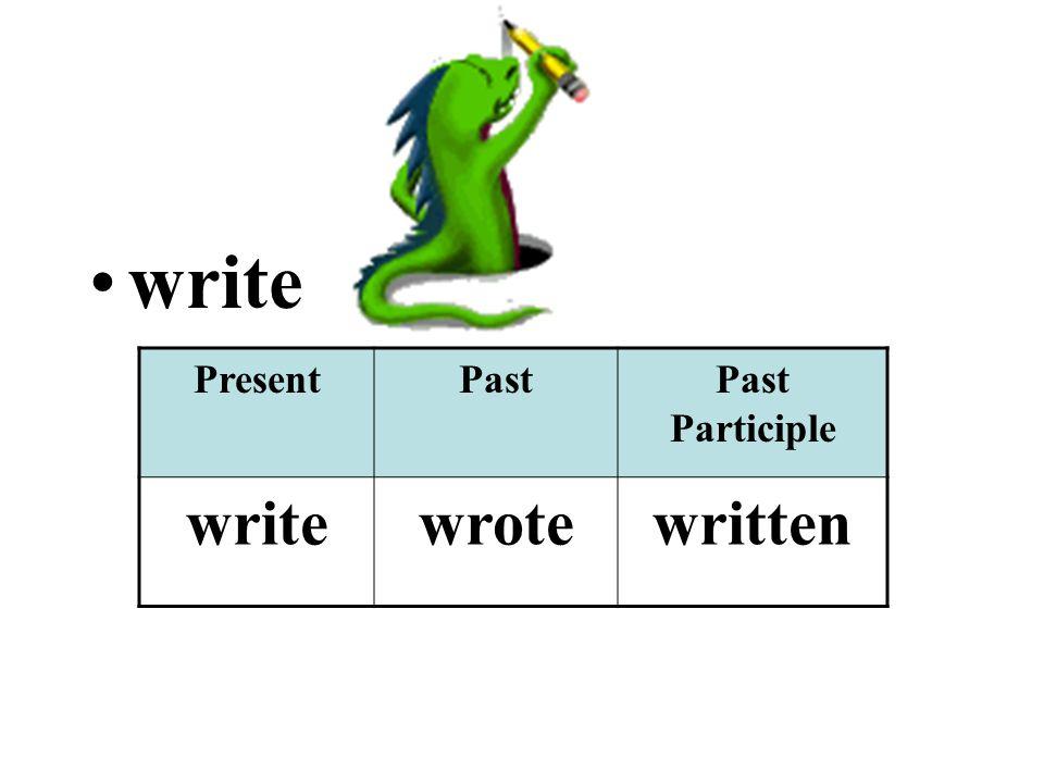 write PresentPastPast Participle writewrotewritten