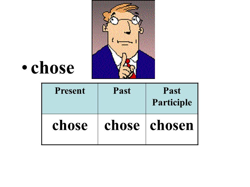 chose PresentPastPast Participle chose chosen