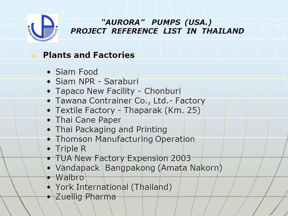 Plants and Factories Plants and Factories Siam FoodSiam Food Siam NPR - SaraburiSiam NPR - Saraburi Tapaco New Facility - ChonburiTapaco New Facility