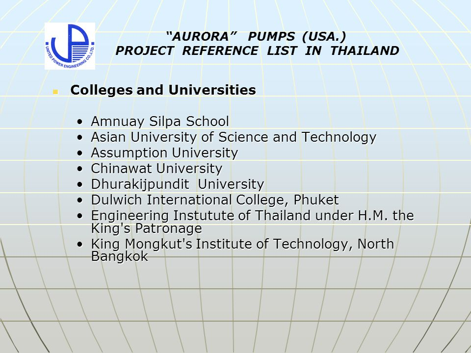 Colleges and Universities Colleges and Universities Amnuay Silpa SchoolAmnuay Silpa School Asian University of Science and TechnologyAsian University of Science and Technology Assumption UniversityAssumption University Chinawat UniversityChinawat University Dhurakijpundit UniversityDhurakijpundit University Dulwich International College, PhuketDulwich International College, Phuket Engineering Instutute of Thailand under H.M.