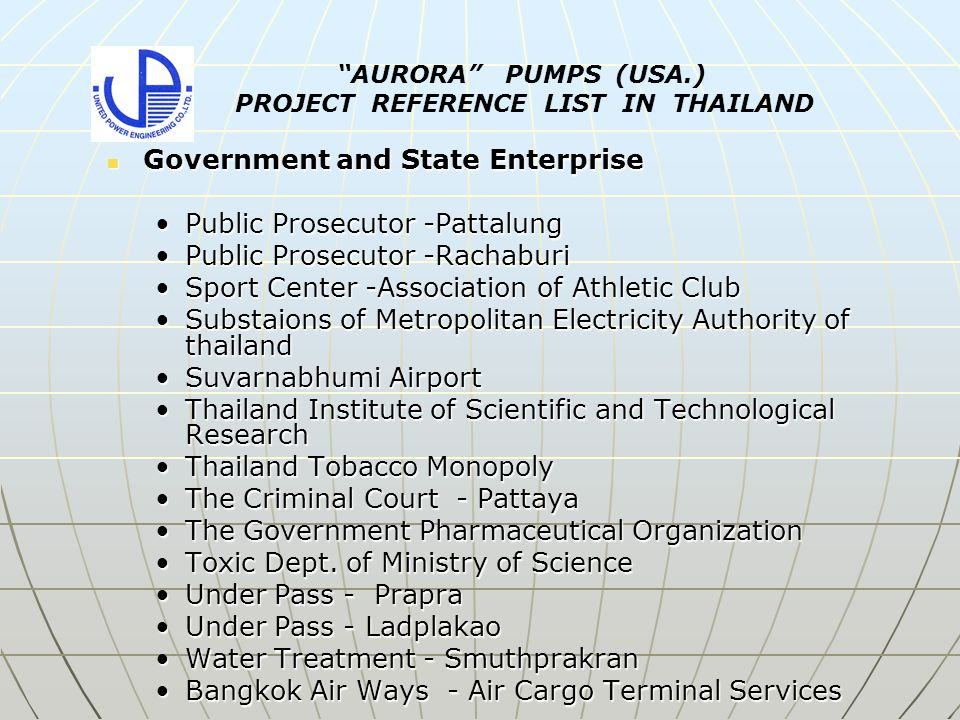 Government and State Enterprise Government and State Enterprise Public Prosecutor -PattalungPublic Prosecutor -Pattalung Public Prosecutor -RachaburiPublic Prosecutor -Rachaburi Sport Center -Association of Athletic ClubSport Center -Association of Athletic Club Substaions of Metropolitan Electricity Authority of thailandSubstaions of Metropolitan Electricity Authority of thailand Suvarnabhumi AirportSuvarnabhumi Airport Thailand Institute of Scientific and Technological ResearchThailand Institute of Scientific and Technological Research Thailand Tobacco MonopolyThailand Tobacco Monopoly The Criminal Court - PattayaThe Criminal Court - Pattaya The Government Pharmaceutical OrganizationThe Government Pharmaceutical Organization Toxic Dept.
