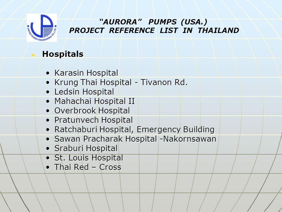 Hospitals Hospitals Karasin HospitalKarasin Hospital Krung Thai Hospital - Tivanon Rd.Krung Thai Hospital - Tivanon Rd.