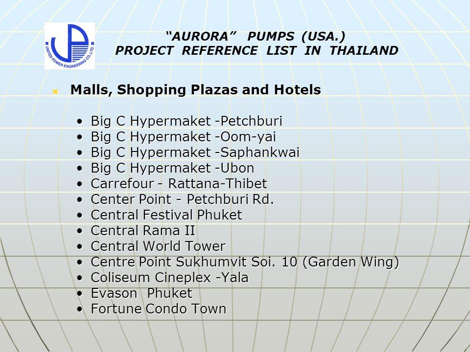 Malls, Shopping Plazas and Hotels Malls, Shopping Plazas and Hotels Home Pro- Bang naHome Pro- Bang na Home Pro- Phong-PhetHome Pro- Phong-Phet Home Pro- Rama IIHome Pro- Rama II Home Pro- Sukhapibal 3Home Pro- Sukhapibal 3 Hyatt Regency - Hua HinHyatt Regency - Hua Hin Jungceylon PhuketJungceylon Phuket Karon Villa, Karon Beach (Phuket)Karon Villa, Karon Beach (Phuket) Krabi ResortKrabi Resort La Meridian Khao LakLa Meridian Khao Lak Lotus Supercenter- BangkaeLotus Supercenter- Bangkae Lotus Supercenter- ChaengwattanaLotus Supercenter- Chaengwattana Lotus Supercenter- ChainatLotus Supercenter- Chainat Lotus Supercenter- Lak SiLotus Supercenter- Lak Si Lotus Supercenter- LampangLotus Supercenter- Lampang AURORA PUMPS (USA.) PROJECT REFERENCE LIST IN THAILAND