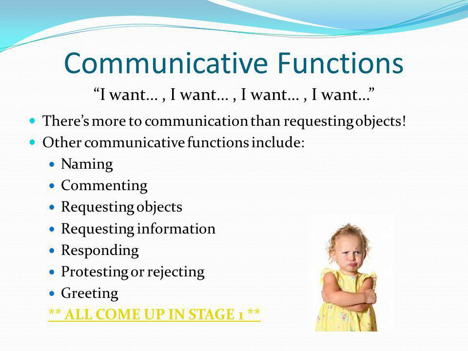 Communicative Functions I want…, I want…, I want…, I want… Theres more to communication than requesting objects! Other communicative functions include