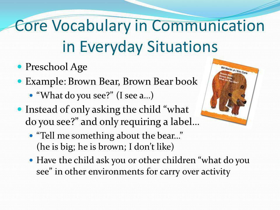 Core Vocabulary in Communication in Everyday Situations Preschool Age Example: Brown Bear, Brown Bear book What do you see? (I see a…) Instead of only